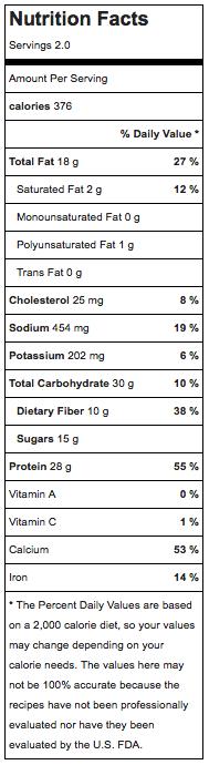 Pumpkin Pancake nutrition info